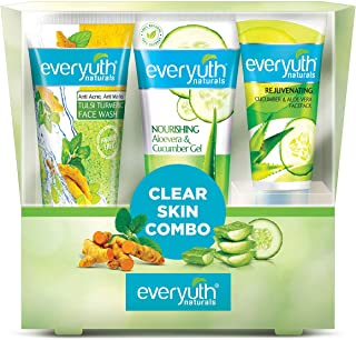 Everyuth Naturals Clear Skin Combo, 250 g with Tulsi Turmeric Face Wash 100g + Aloevera & Cucumber Gel 100g + Cucumber & A...
