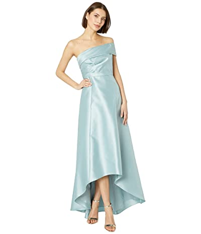 Adrianna Papell Mikado One Shoulder Evening Gown (Aqua Dust) Women