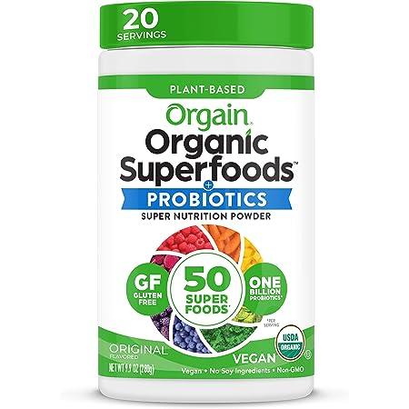Orgain Organic Green Superfoods Powder, Original - Antioxidants, 1 Billion Probiotics, Vegan, Dairy Free, Gluten Free, Kosher, Non-GMO, 0.62 Pound (Packaging May Vary)