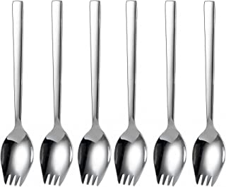 IMEEA 8.26-Inch Sporks Slad Fork Spoon Heavy Duty SUS304 Stainless Steel Serving Pieces, Set of 6