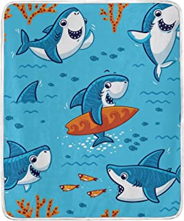 Cooper girl Shark Love Surfboard Throw Blanket Soft Warm Bed Couch Blanket Lightweight Polyester Microfiber 50x60 Inch