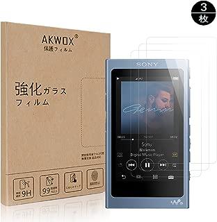 AKWOX [3 枚] SONY ウォークマンNW-A35 / NW-A30 / NW-A40/ NW-A47 / NW-A45 / NW-A46HN ガラスフィルム, [ 耐衝撃] 9H硬度の液晶保護フィルム ソニー ウォークマン Aシリーズ
