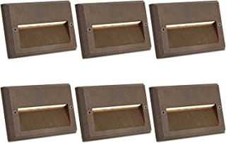 Hykolity Low Voltage LED Landscape Deck Light, 3W 49LM 12V Wired for Outdoor Yard Lawn Step and Stair Lighting, Die-cast Aluminum Construction, 75-Watt Equivalent, 15-Year Lifespan, 6 Pack