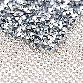 240X400mm Crystal Rhinestone Trim Hotfix Strass Crystal Mesh Banding Bridal Beaded Applique in Sheet for Dresses with Rhinestones 2pcs(Crystal+Black Diamond with Silver)