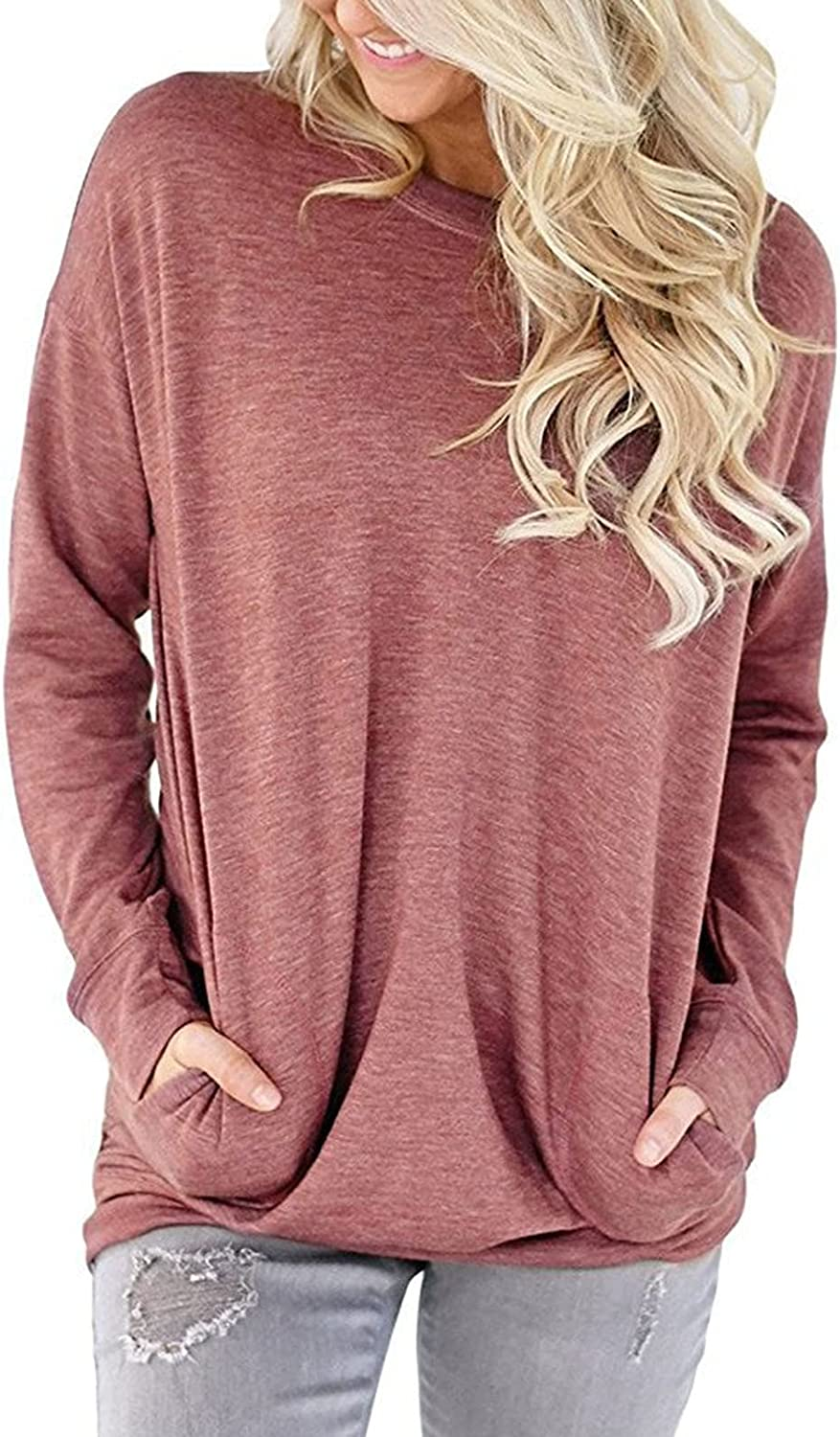 Pullover Tops for Women Casual O-Neck Long Sleeve T-Shirt Solid Tunic Tshirt Loose Fit Blouse Tops with Pockets