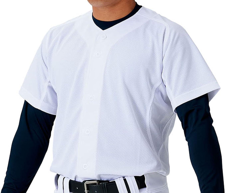 議会自治エアコンZETT(ゼット) 野球 ユニフォーム メッシュ フルオープン シャツ メカパン ホワイト(1100) BU1181MS