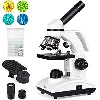 Telmu 40X-1000X Dual Cordless LED Illumination Lab Compound Monocular Microscopes with Optical Glass Lenses & 10 Slides