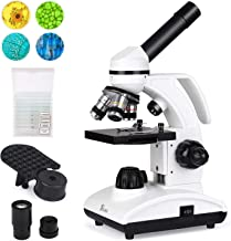 TELMU Microscope 40X-1000X Dual Cordless LED Illumination Lab Compound Monocular Microscopes with Optical Glass Lenses & 10 Slides