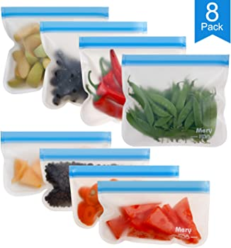 8-Pack Mery Extra-thick Reusable Storage Sandwich Bags