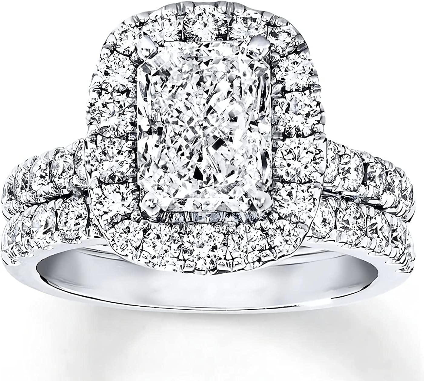 Bridal Set 3-1 3 CT Radiant Moissanite Cut Rings OFFicial site Luxury Engagement for