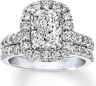 مجموعة الزفاف 3-1/3 CT راديانت كت مويسانيت خواتم الخطوبة للنساء مطلي بالبلاتين الفضة
