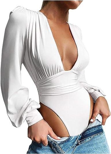 SUccess Body de manga larga para mujer, cuello en V, blusa de negocios, blusa de body, blusa de encaje, ropa interior, elegante bodys para mujer