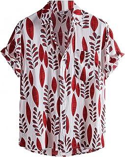 Men's Hawaiian Shirts Short Sleeve Cotton Linen T Shirt Boho Print Button Down Shirt Relaxed-Fit Casual Beach Tops