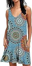 فستان صيفي نسائي من GOLDSTITCH مطبوع عليه زهور كاجوال فستان بدون أكمام