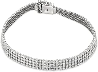 Lab Grown 5 1/5 قيراط الماس سوار صنع في الولايات المتحدة الأمريكية IGI معتمد من 14K الذهب الأبيض SI-GH جودة مختبر مختبر أن...