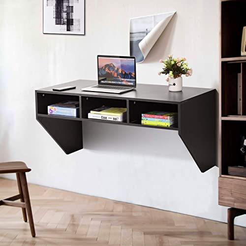 2021 Giantex Wall Mounted Desk Floating Computer Desk, Writing Study Table W/3 Storage Shelves, high quality Laptop PC Table for online sale Living Room, Bedroom, Office (Black) sale