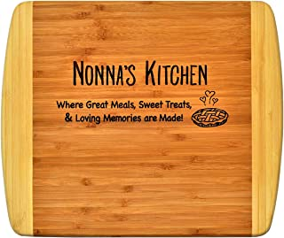 Nonna Gift - Nonna's Kitchen Where Great Meals Sweet Treats & Loving Memories are made - Engraved 2-Tone Bamboo Cutting Board Grandma Christmas Birthday Mothers Day Design Decor & Usage (11.5x13.5)