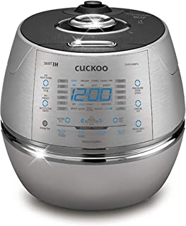 Cuckoo Electric Induction Heating Rice Pressure Cooker 10 Cup Full Stainless Steel Interior with Non-Stick Coating-3-Language Voice Navigation and LED Screen with Touch Selection Menu, Metallic