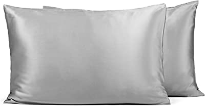 Fishers Finery 25mm 100% Pure Mulberry Silk Pillowcase 2 Pack, Good Housekeeping Winner (Gray, Queen 2 Pack)