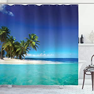 Ambesonne Ocean Shower Curtain, Seaside View Tropical Island Coast Jungle Nature Landscape Picture, Cloth Fabric Bathroom Decor Set with Hooks, 84