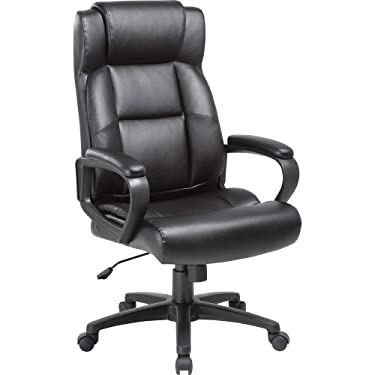 Lorell Soho High-Back Leather Executive Chair, Black