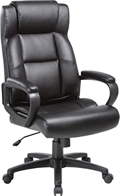 Lorell Soho High-Back Leather Executive Chair, Black