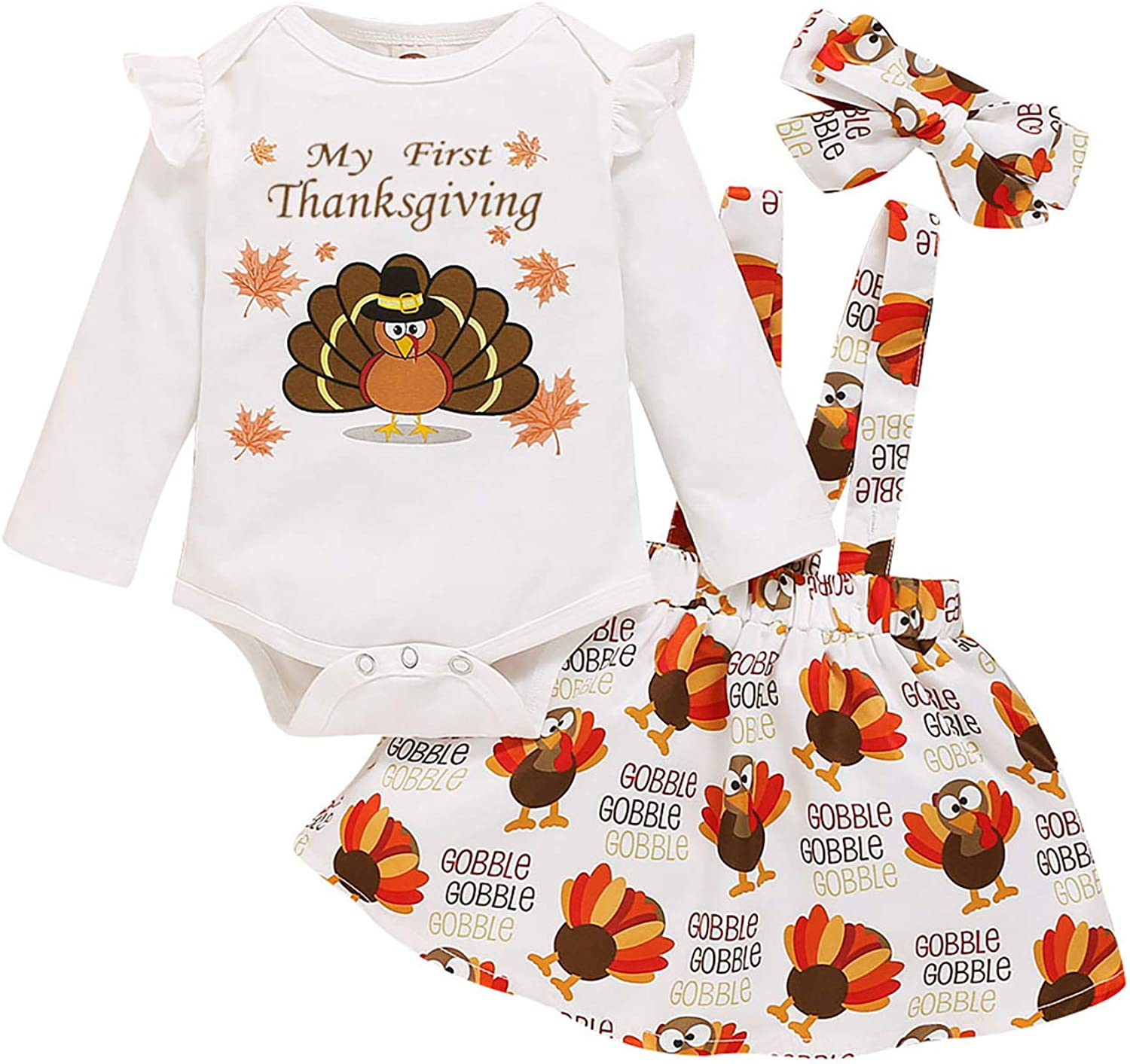 Infant Baby Girl Thanksgiving Outfit My First Thanksgiving Romper Turkey Suspender Skirt with Headband Clothes Sets
