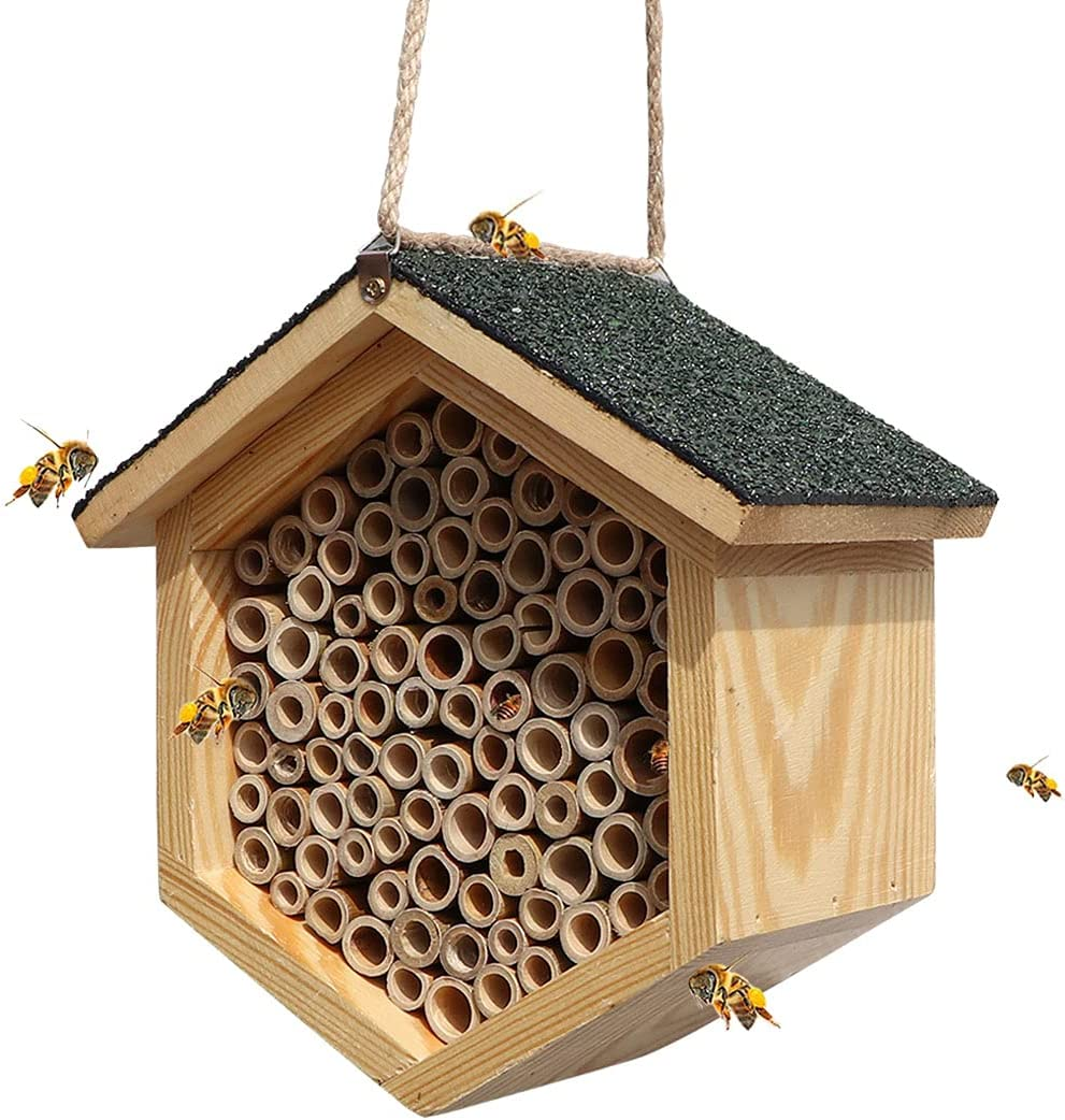 XAOHAO Mason Bee House and Insect Habit Handmade Natural Bamboo Bee Hive Coated with Asphalt for Waterproof and Long Service Life - Attract Peaceful Bee Pollinators to Enhance Garden's Productivity