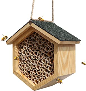 XAOHAO Mason Bee House and Insect Habit Handmade Natural Bamboo Bee Hive Coated with Asphalt for Waterproof and Long Servi...