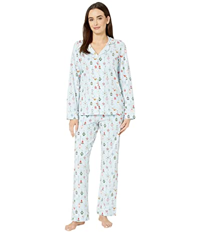 BedHead Pajamas Long Sleeve Classic Notch Collar Pajama Set (Deck The Halls/Blue) Women