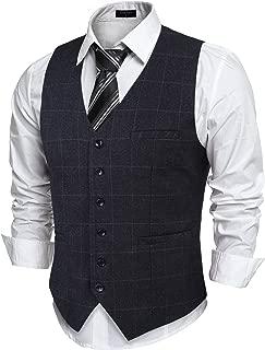 COOFANDY Men's Slim Fit Herringbone Tweed Button Suit Vest Plaid Wool Dress Waistcoat