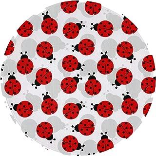 NiYoung Non-Slip Round Area Rug Circular Floor Mat Living Room Bedroom Children Playroom Bathroom Water Absorbent Bath Rug - Ladybugs Cartoon Cute