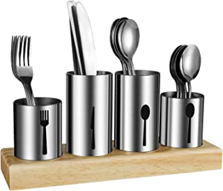 Silverware Holder,HabiLife Utensil Holder with Caddy Silverware Container for Spoons ,Knives ,Forks Silverware Display Organizer Kitchen Dinner Table,Stainless Steel with Bamboo Wood Base