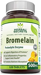 Herbal Secrets Bromelain 500 Mg 120 Tablets (Non-GMO)- Proteolytic Enzyme* Anti-Inflammatory Properties* Support Joint Hea...