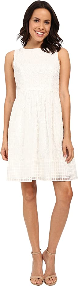 Embroidered Soutache Fit & Flare Dress w/ Grid Hem