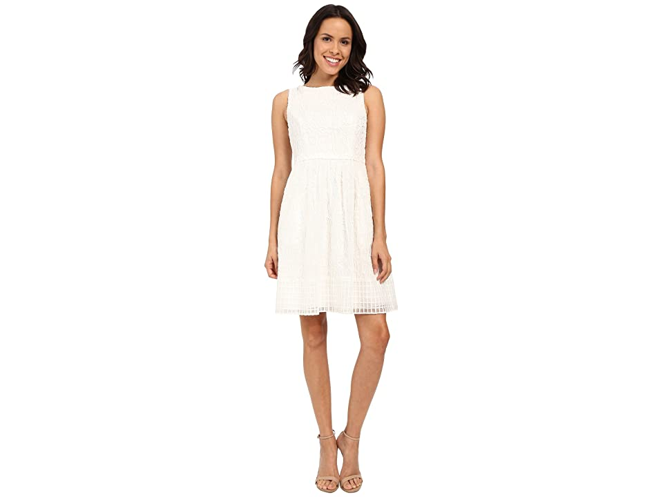 Adrianna Papell Embroidered Soutache Fit Flare Dress w/ Grid Hem (Ivory) Women