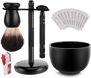 Amazing Safety Razor Shave Kit - Mysterious Black Men's Shaving & Grooming Sets - Butterfly Open Safety Razor,Friendly Brush,Great Shaving Stand,Shaving Soap Bowl, Super Stainless Blades