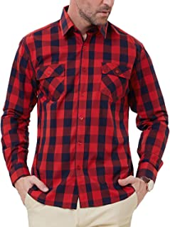 PAUL JONES Men's Western Plaid Shirt Button Down Casual Shirt