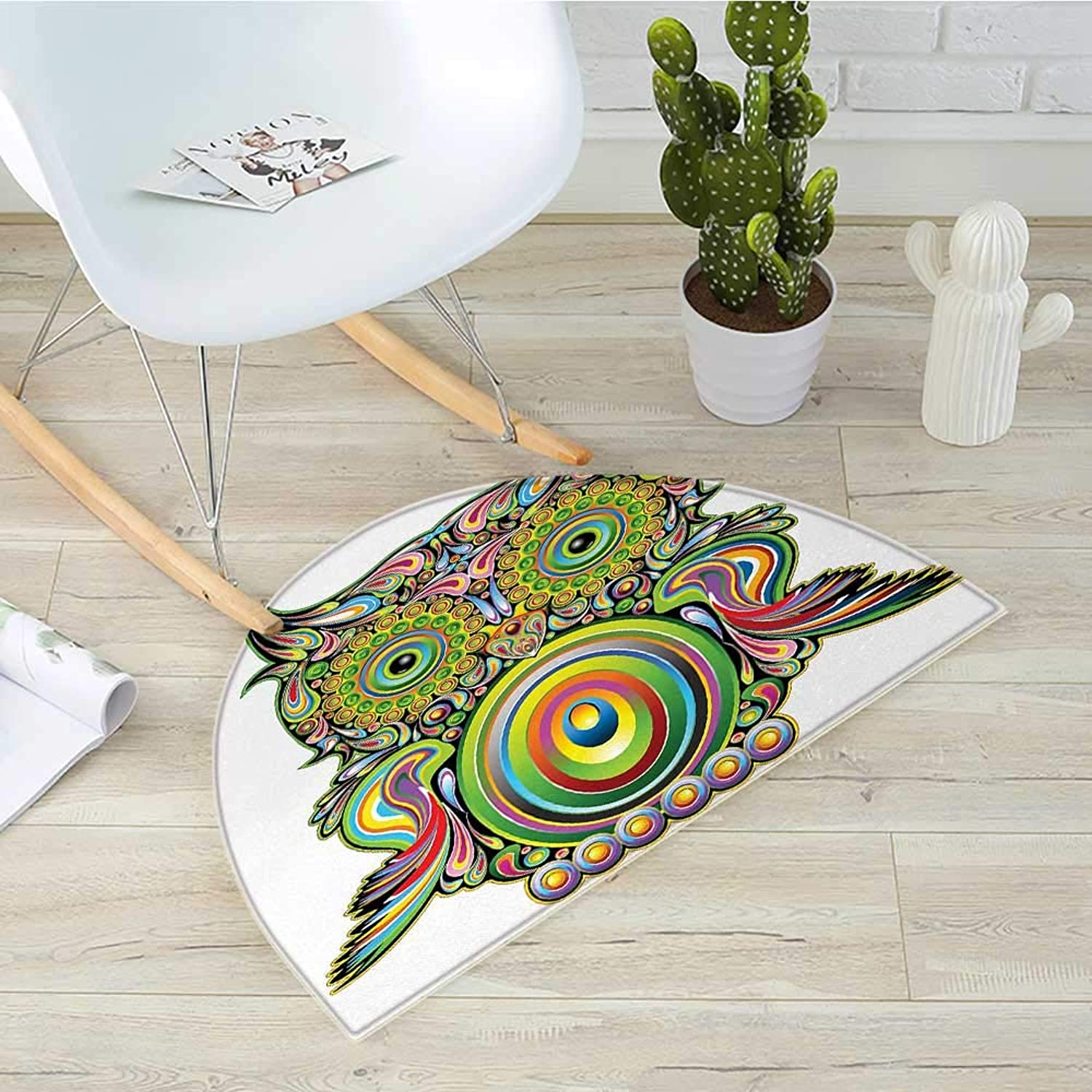 Owl Semicircular CushionOrnate colorful Owl with Ethnic Elements Legend Eye Feather of Universe Psychedelic Artwork Entry Door Mat H 27.5  xD 41.3  Multi