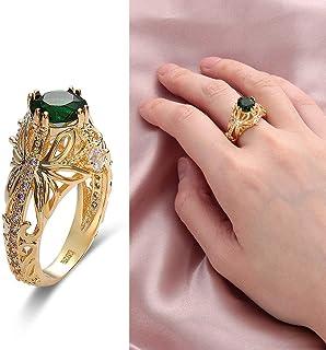 MAIHAO Fashion Ring Grandmother Green Zircon Diamond Ring 14k Gold Emerald Diamond Ring Women Anniversary Engagement Weddi...