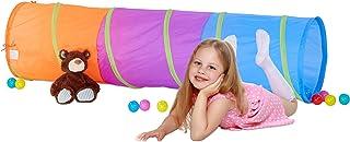 Relaxdays Spieltunnel för barn, färgglad kryptunnel f. Pojkar och flickor, robust popup krypunnel, färgglad