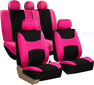 FH Group FB030115 Light & Breezy Cloth Seat Cover Set Pink/Black (Airbag & Split Ready)- Fit Most Car, Truck, SUV, or Van