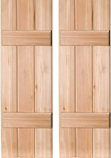 Ekena Millwork RWB12X026UNW Exterior Three Board Real Wood Western Red Cedar Board-N-Batten Shutters (Per Pair), Unfinished, 12
