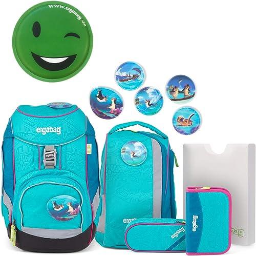Ergobag Pack Set Schulrucksack HoopB türkis mit extra Klettie Grün