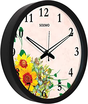 Amazon Brand - Solimo 12-inch Wall Clock - Flowers (Silent Movement, Black Frame)
