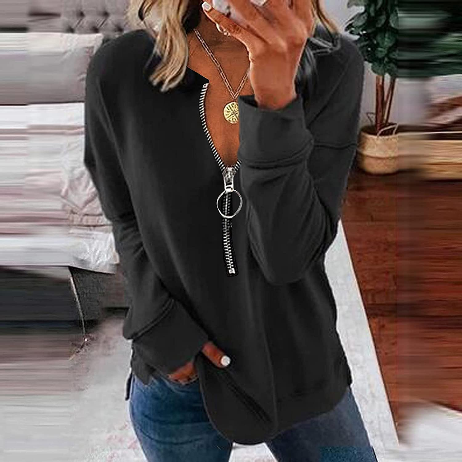 Womens Simple Long Sleeve T-Shirt Loose Comfortable Lapel V-Neck Zipper Tunic Tops Casual Pullover Henley Basic Blouse