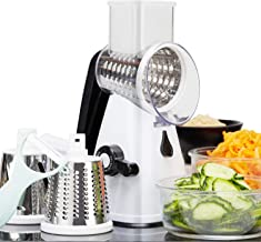 Vegetable Slicer/Shredder, Rotary Cheese Grater Food Chopper Slicer with Peeler & Suction Base, 3 Stainless Steel Blades