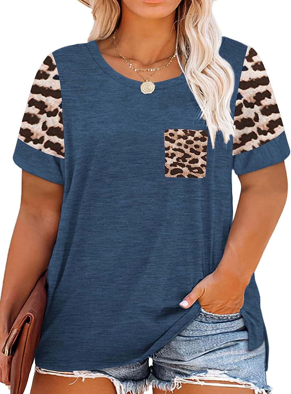 VISLILY Women's Plus Size Tops Leopard Print Short Sleeve Raglan Color Block Shirts with Pocket