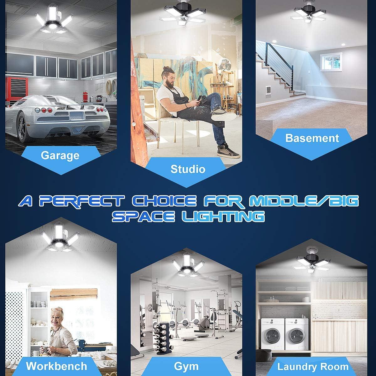 Barn 100W Garage Lights 2-Pack 10000LM Deformable LED Garage Light E26//E27 Illuminator 360 LED Bulb with 5 Adjustable Panels Garage Lighting Fixtures LED Shop Lights for Workshop Workbench