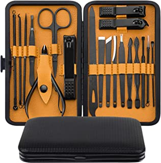 Manicure Set, MH ZONE Pedicure Set Nail Clippers, 19 Pieces Premium Stainless Steel Manicure Kits with PortableTravel Case, Perfect Christmas Gifts for Women and Men(19 Pcs Yellow)